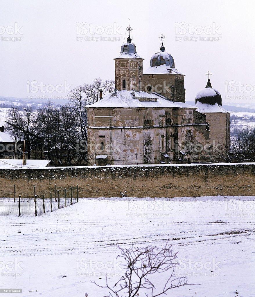 Monastero della stagione invernale foto stock royalty-free