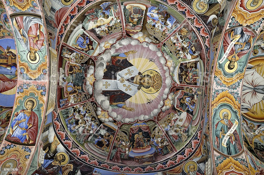 Monastery interior - paintings royalty-free stock photo