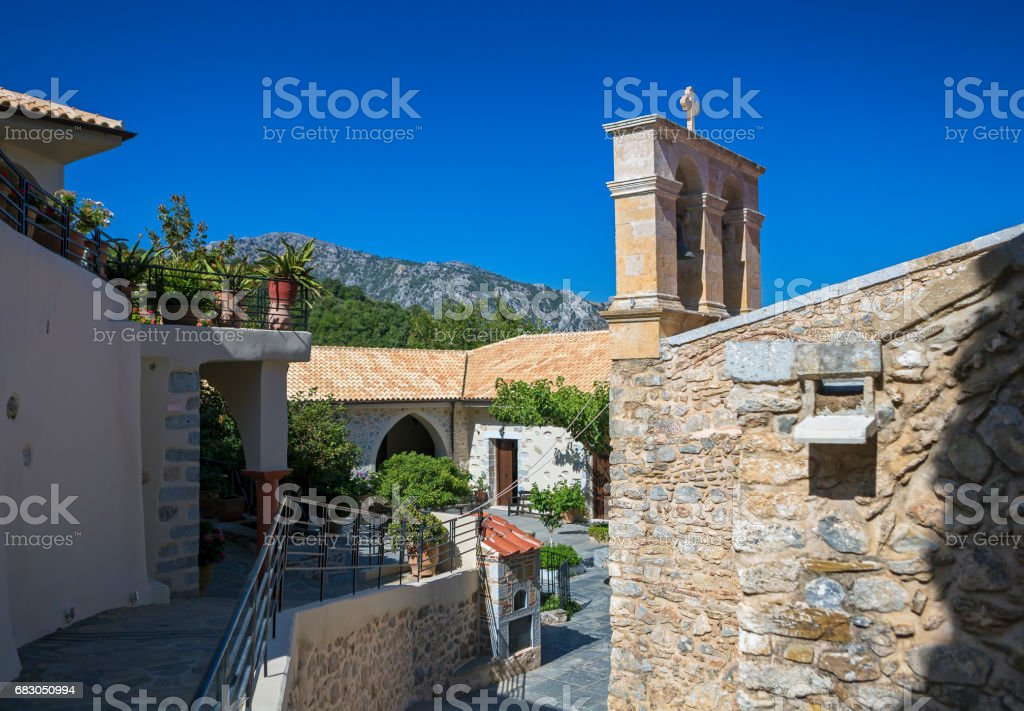 Monastery Kera Kardiotissa in the mountains of Crete. Greece foto de stock libre de derechos