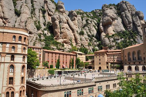 Monastery near the mountain Montserrat in Spain