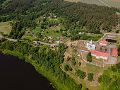Aerial view of a Monastery on Neman river