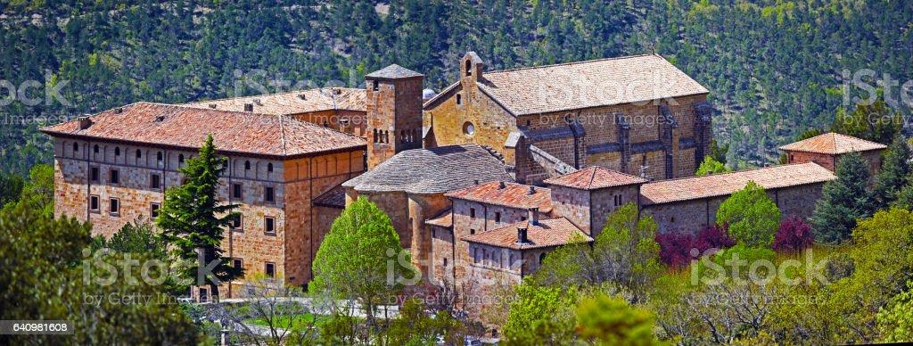 Monastery of San Salvador of Leyre in Spanish Navarra stock photo