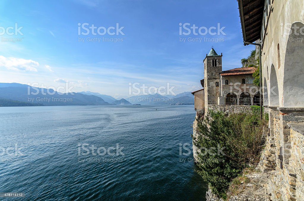 Monastery of Santa Caterina, by Lake Maggiore, Italy stock photo