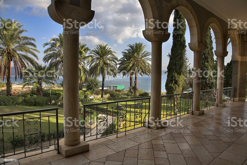 Monastery on coast of lake. royalty-free stock photo
