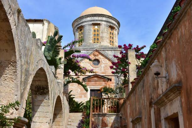 monastery on Crete island stock photo