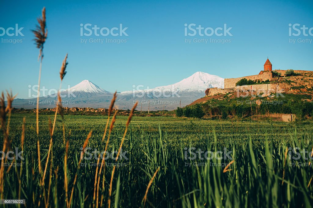 Monastery on the background of Ararat stock photo
