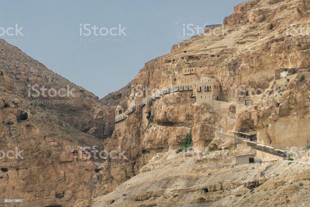 Monastery on the mountain of temptation stock photo