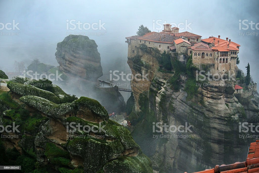 Monastery on top of a rock at Meteora stock photo