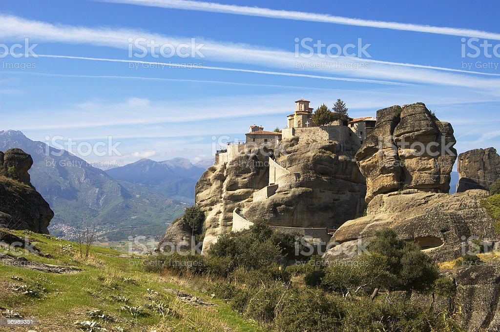 Monastery on top of rock royalty-free stock photo