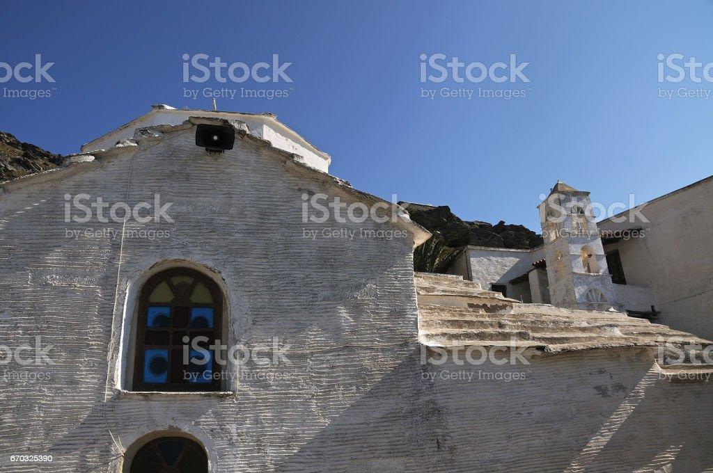 Monastery PanachrantouGreece, Andros island. Cyclades Greece stock photo