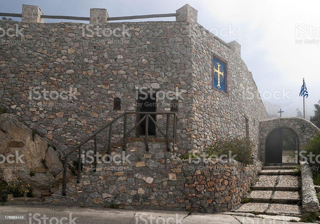 Monastery stone wall and entrance stock photo