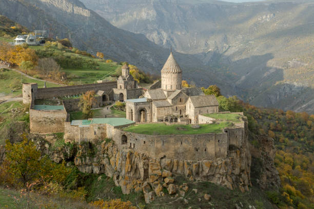 Monastery Tatev in Armenia One of the oldest existing churches in Armenia that was built in the end of 9th - beginning of 10th century armenian culture stock pictures, royalty-free photos & images