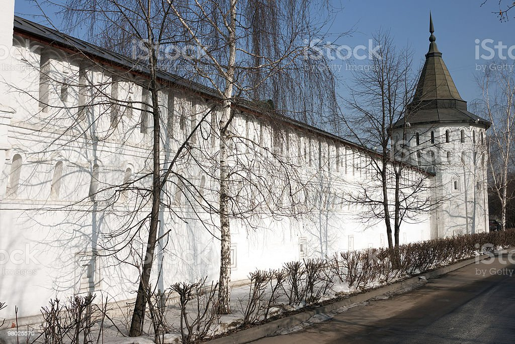 monastery tower and wall royalty-free stock photo