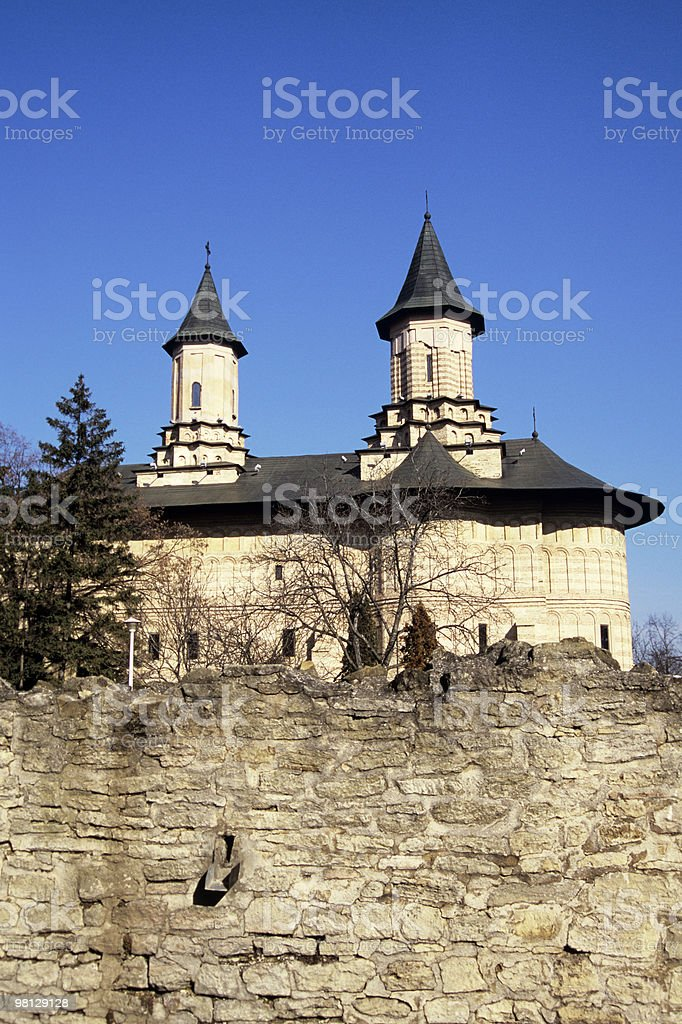 monastery wall and towers royalty-free stock photo