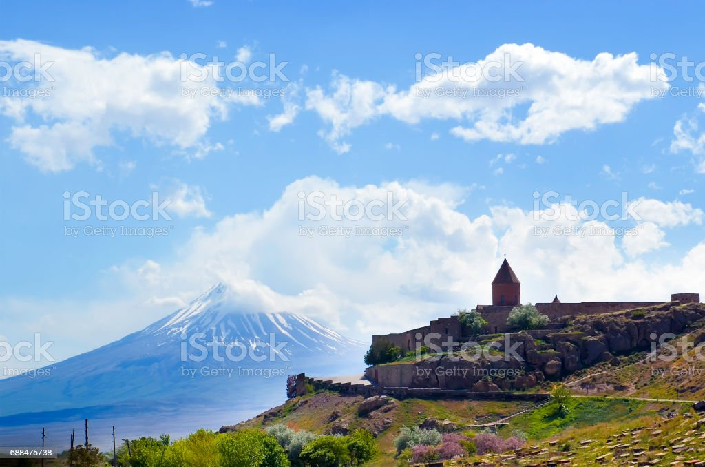 Monastery with Mount Ararat in background. The Khor Virap is an Armenian monastery located in the Ararat plain in Armenia stock photo