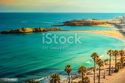 View of the Mediterranean Sea. Monastir. Tunisia. Panoramic view of the city and the coast opens from the observation tower Ribat