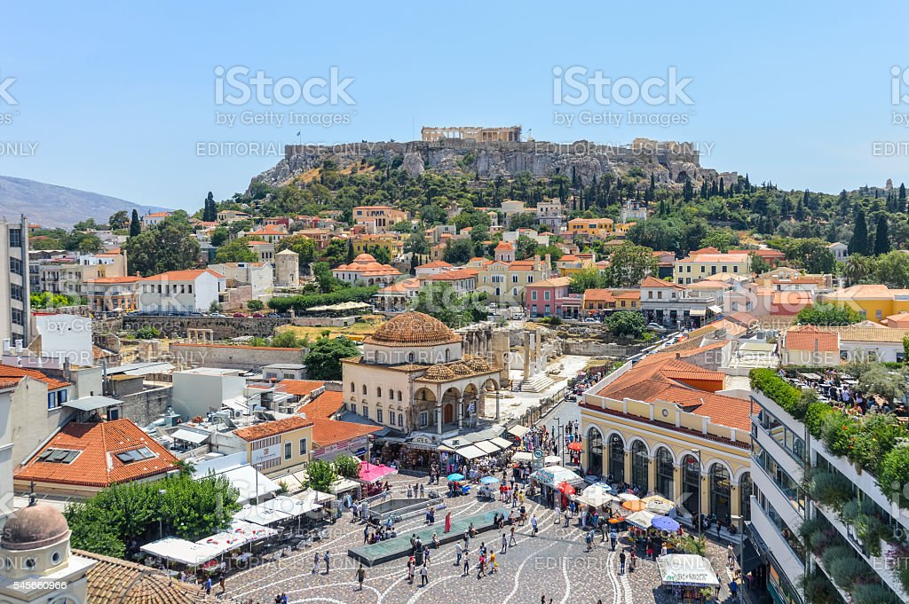 Monastiraki Square and Plaka in Athens, Greece stock photo