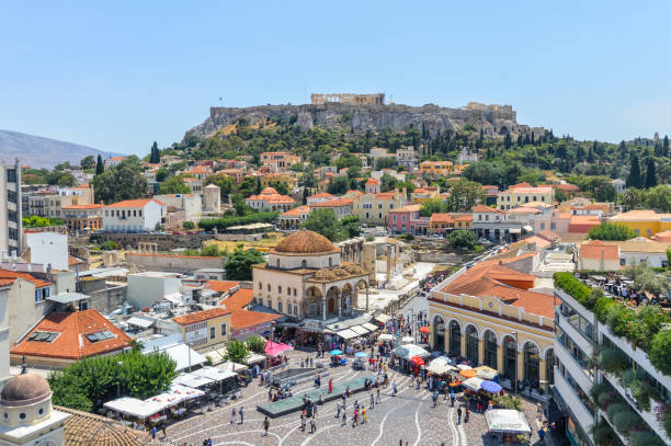 Monastiraki Square in Athens, Greece stock photo