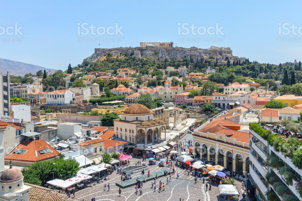 Monastiraki Square in Athens, Greece stock photo