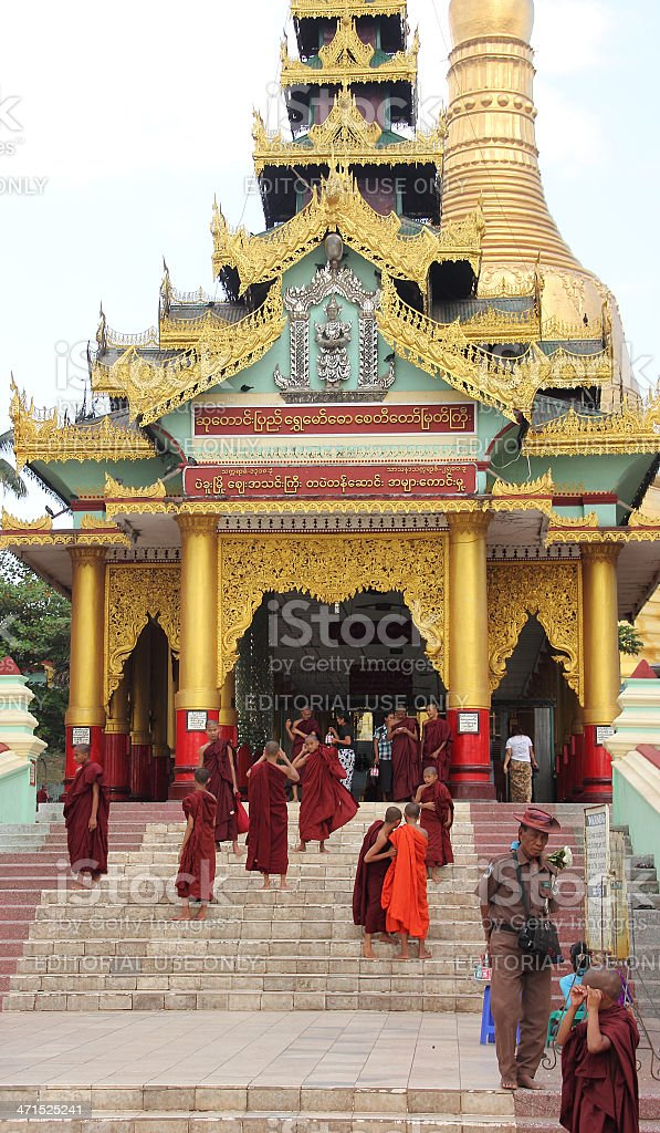 Monchs on the stairs of bago pagoda royalty-free stock photo