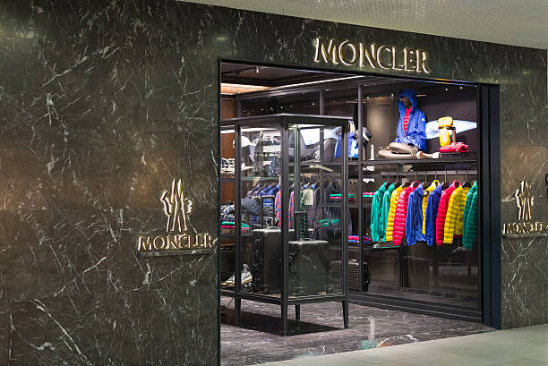Moncler store at Fiumicino Airport in Rome stock photo
