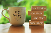 istock Monday concept with morning coffee cup - New Monday. New week. New start. New Goals. 1210438936