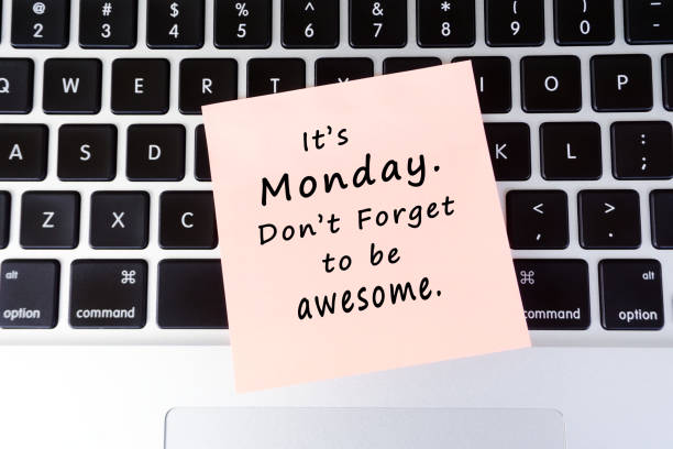 monday inspirational greeting - monday motivation stock photos and pictures