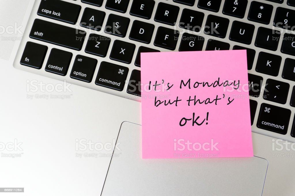 Monday inspirational greeting stock photo