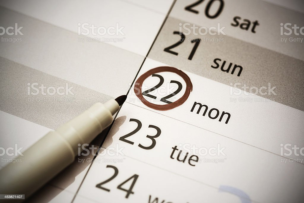 Monday marked out in diary royalty-free stock photo