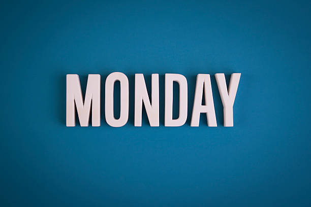 Monday sign lettering stock photo