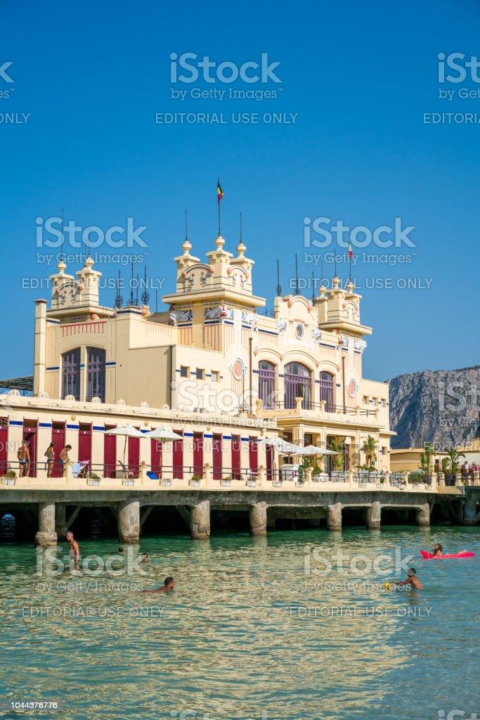 Mondello Beach Bath House In The Bridge In Palermo Sicily Italy ...