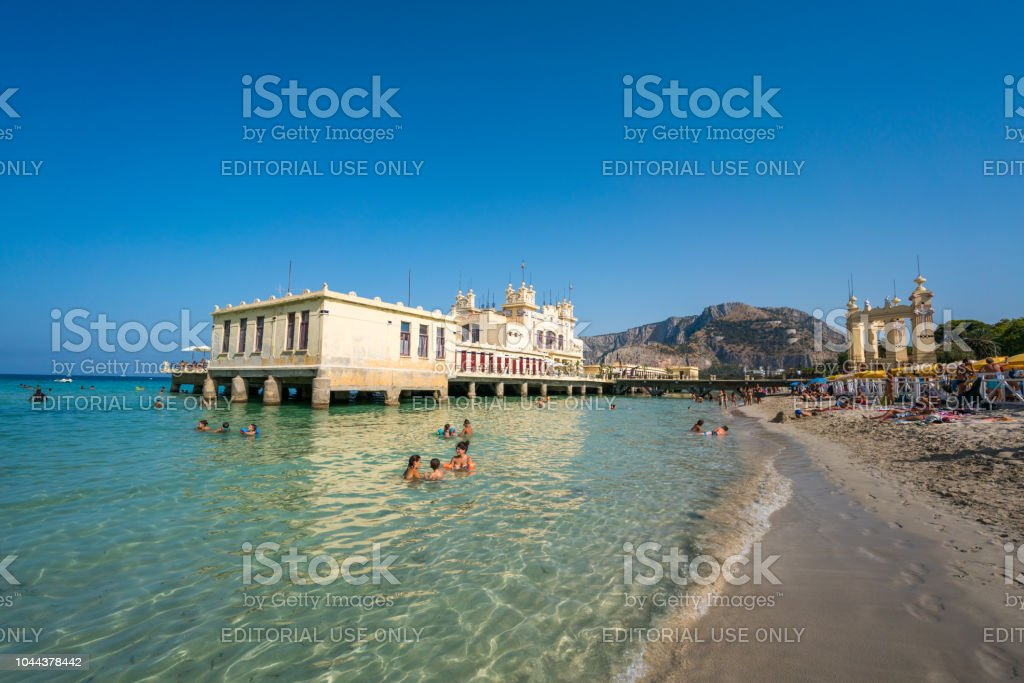 Mondello Course Eel Beach With Bath House In Palermo Sicily Italy ...