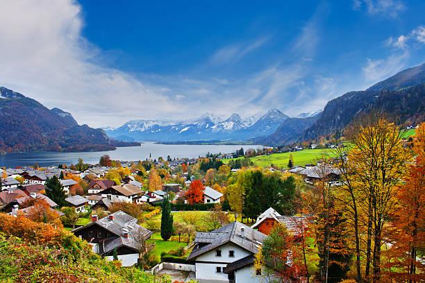 Mondsee lake in Austria stock photo