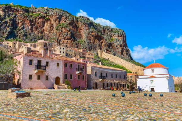 Monemvasia houses and church in Peloponnese, Greece stock photo