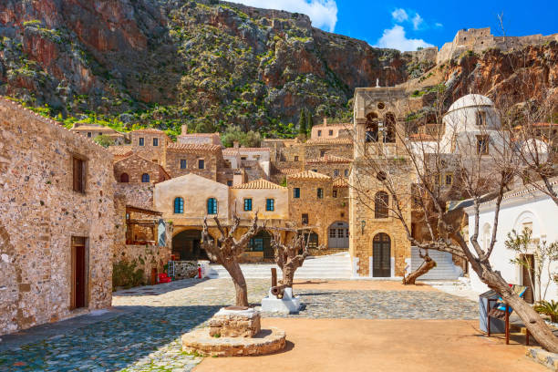 Monemvasia houses and church, Peloponnese, Greece stock photo