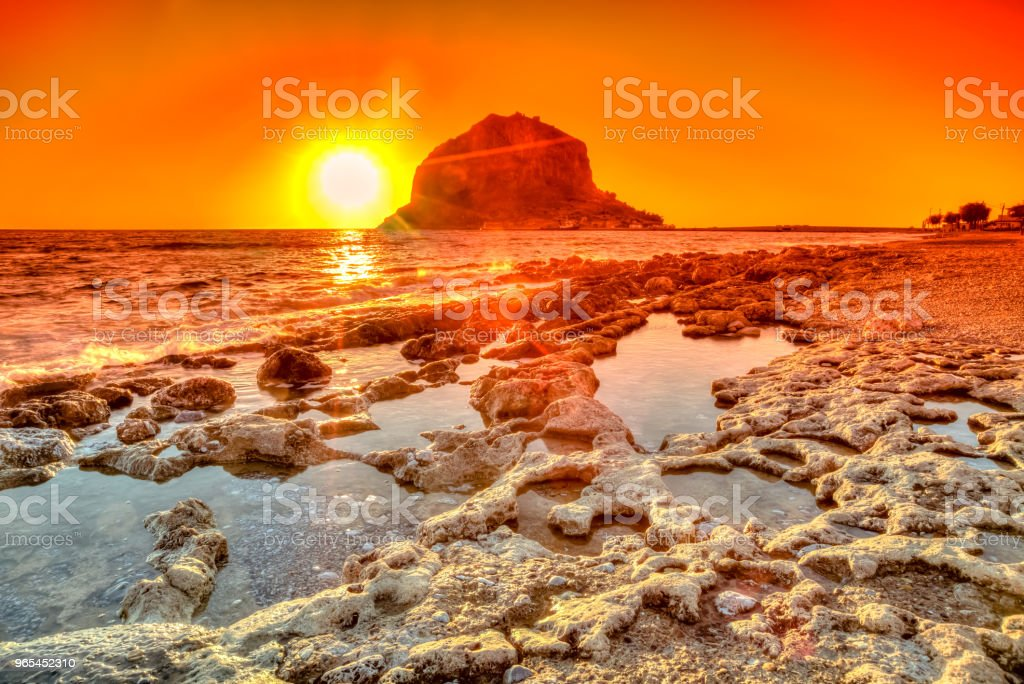 Monemvasia red sunset royalty-free stock photo