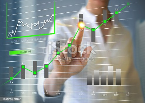 Businesswoman working with touch screen. Monetary dynamics concept on the touch screen.