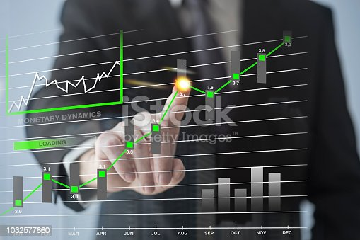 Businessman working with touch screen. Monetary dynamics concept on the touch screen.