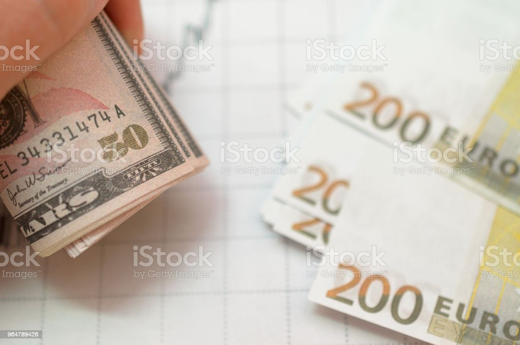 Money against the background of financial stock charts. royalty-free stock photo