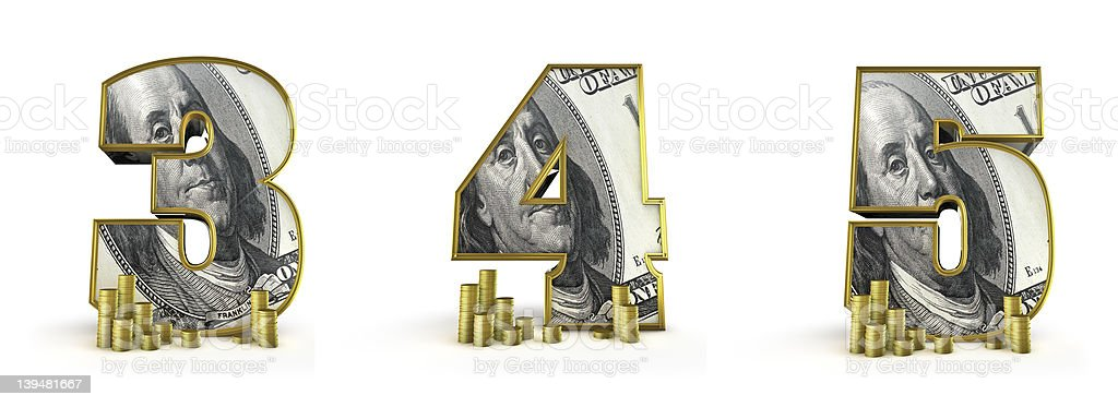 Money alphabet numbers 3 4 5 royalty-free stock photo