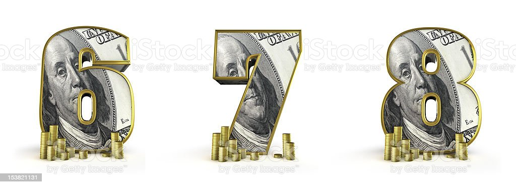 Money alphabet numbers 6 7 8 stock photo