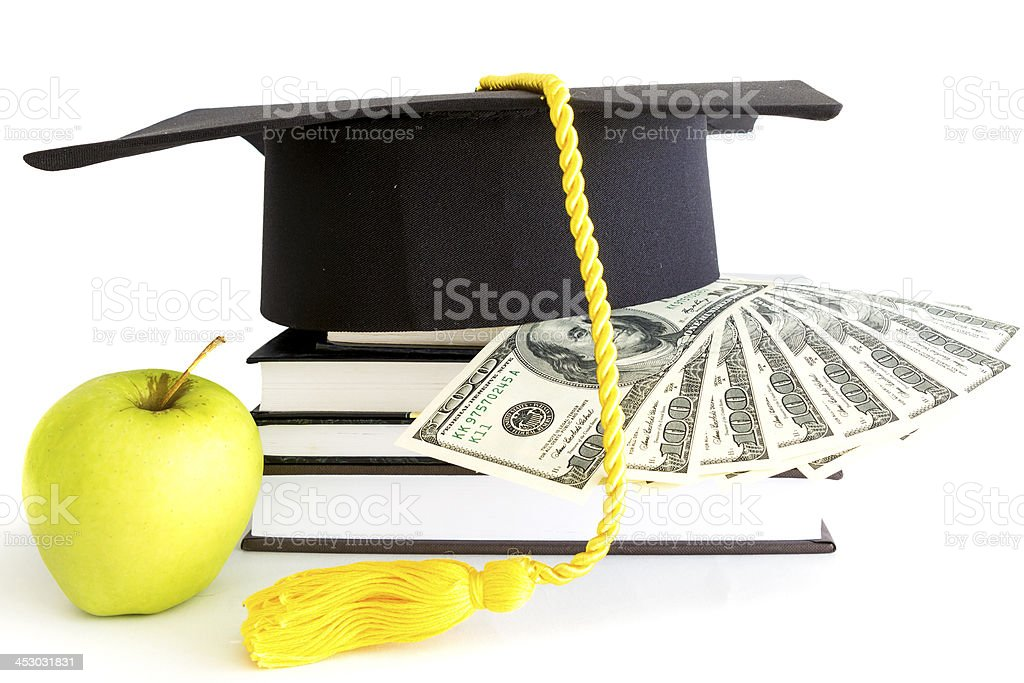 Money and books for school stock photo