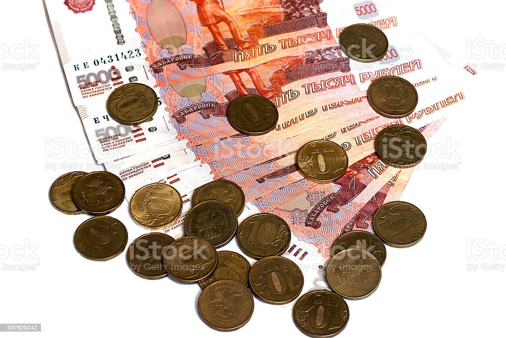 money and coins on white background stock photo