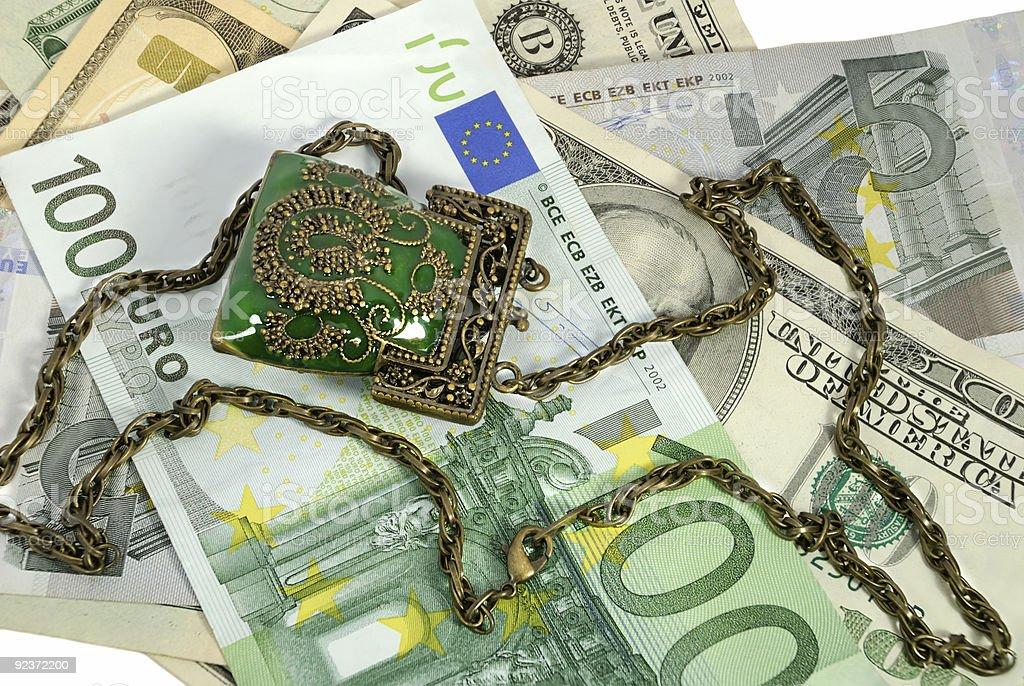 Money and decorative purse royalty-free stock photo