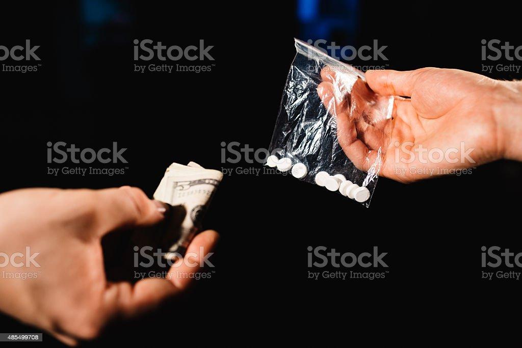 Money and drugs stock photo