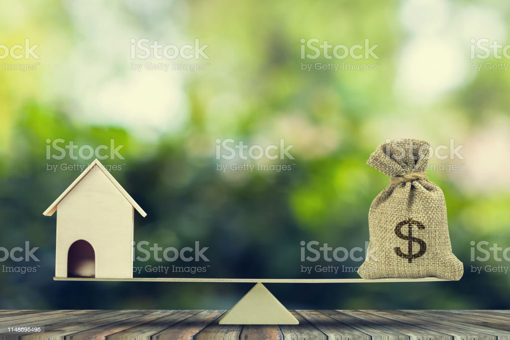 money and homeloanmortgage change home into cash concept
