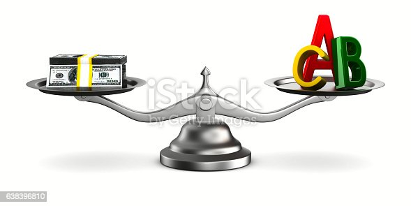 istock Money and letters on scales. Isolated 3D image 638396810