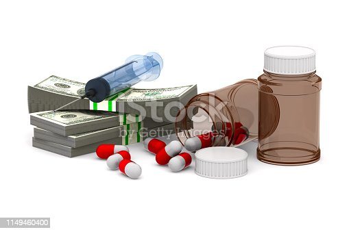 money and medicaments on white background. Isolated 3D illustration