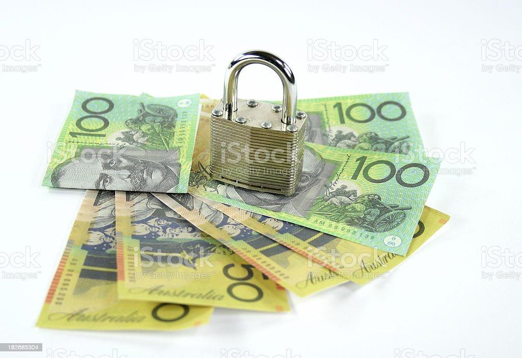money and padlock royalty-free stock photo