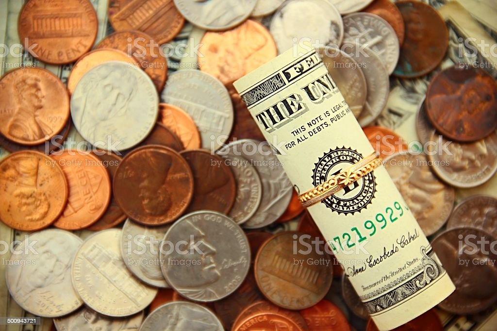 Money and Ring stock photo